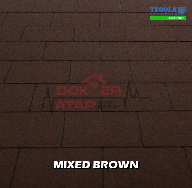 tegola eco roof rectangular mixed brown, genteng aspal bitumen atap tegola
