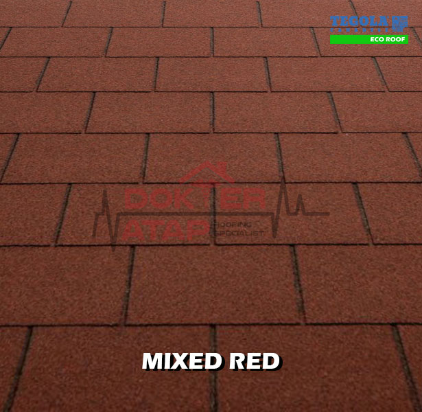 tegola eco roof rectangular mixed red, genteng aspal bitumen atap tegola