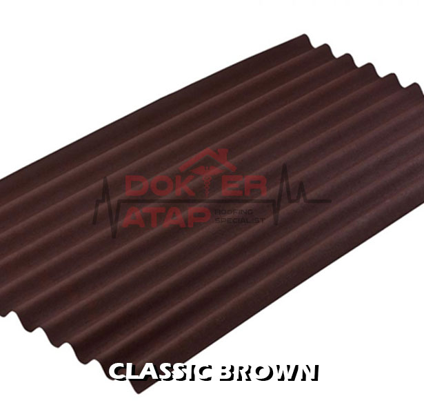 atap bitumen selulosa onduline classic brown genteng aspal bergelombang cokelat