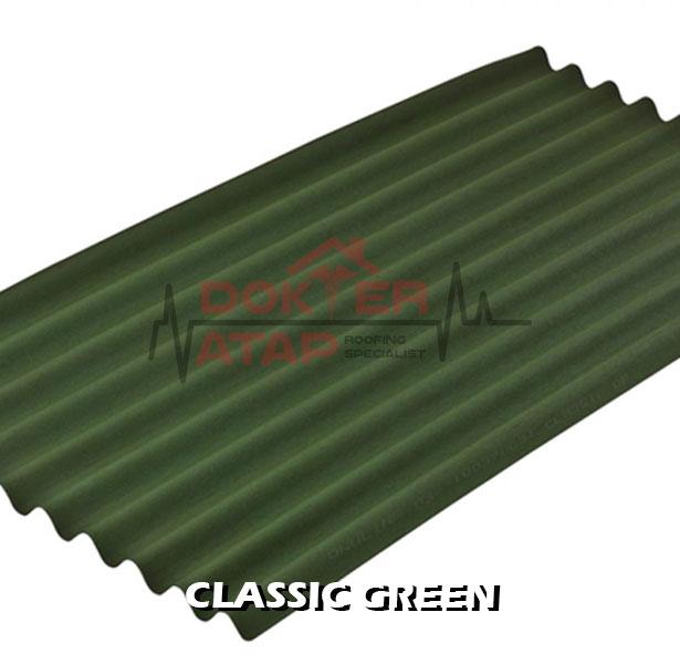 atap bitumen selulosa onduline classic green genteng aspal bergelombang hijau