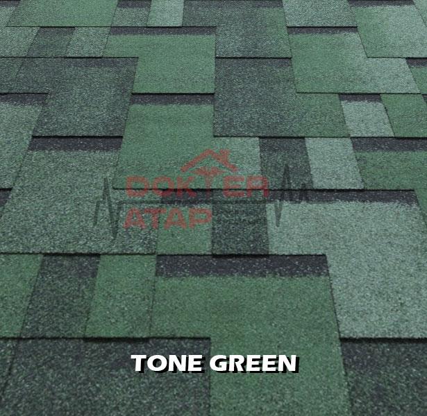 tegola premium gothik tone green, genteng aspal bitumen atap tegola