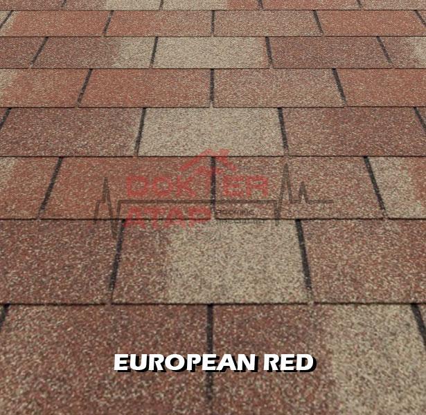 tegola premium rectangular european red, genteng aspal bitumen atap tegola